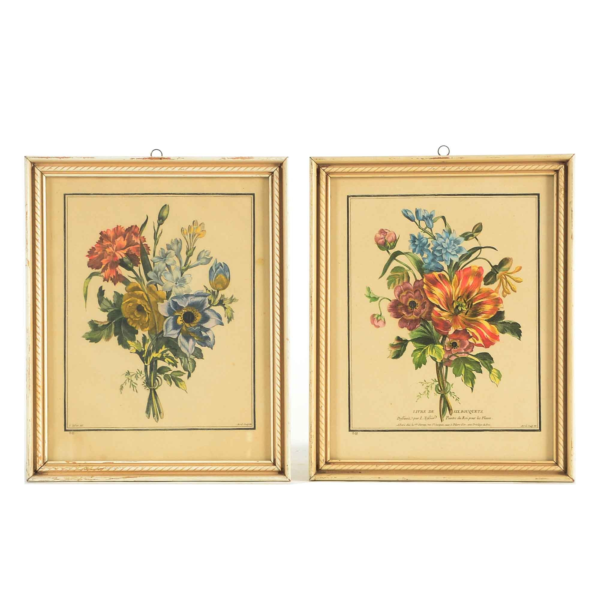 Pair of Colored Engravings of Flowers after Louis Tessier