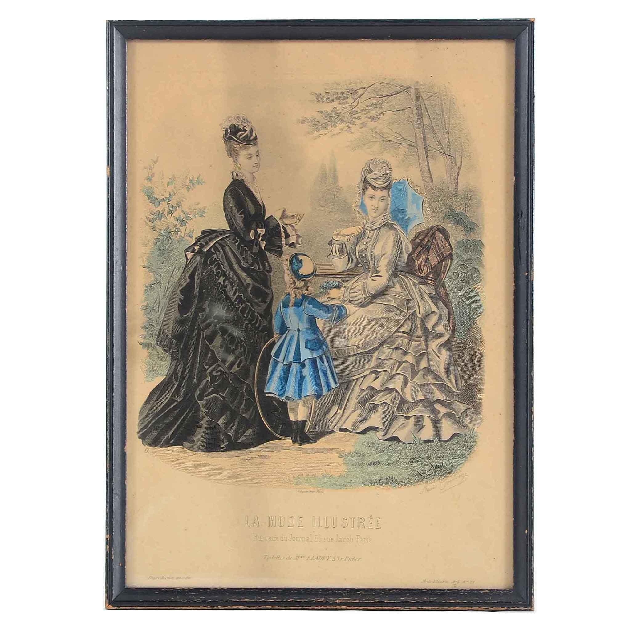 Antique Hand-colored Fashion Engraving after Anaïs Toudouze