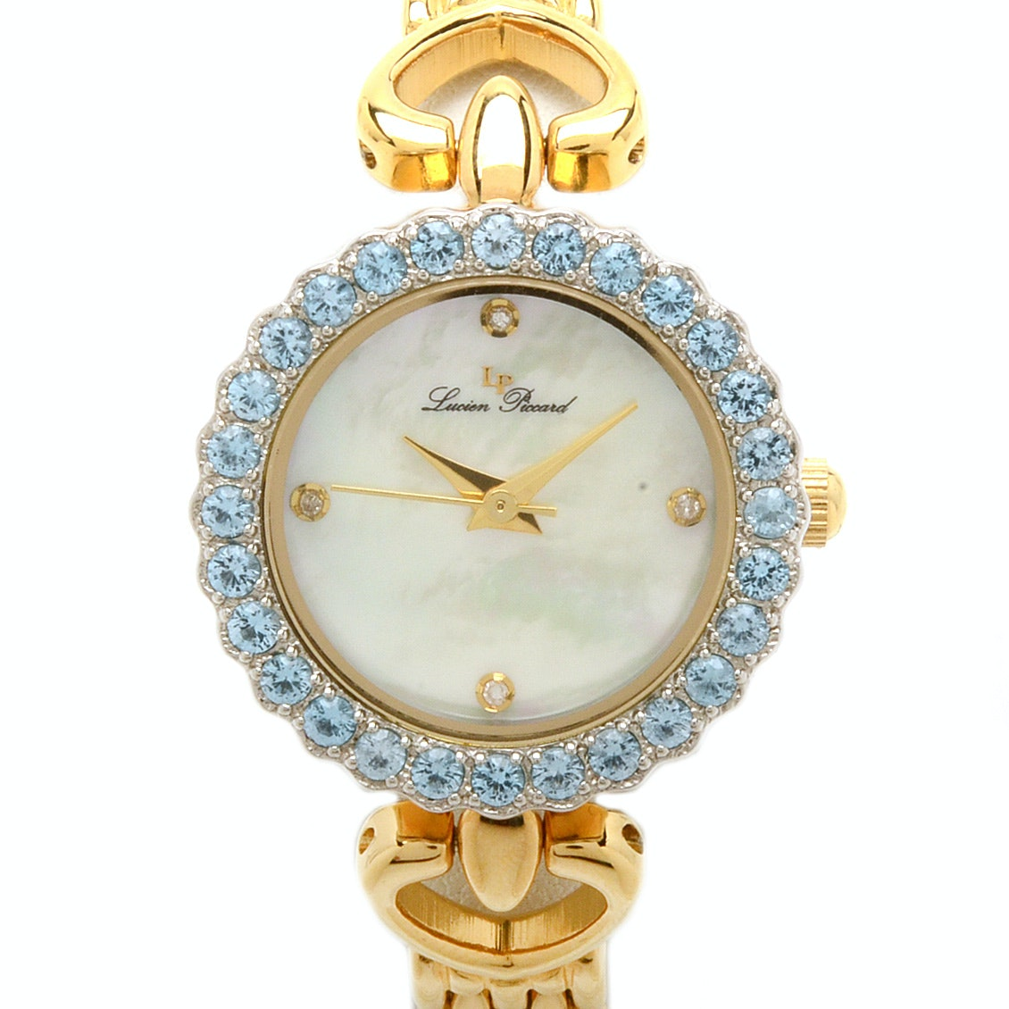 "Lucien Piccard ""Roma"" Blue Topaz Bezel Wristwatch"