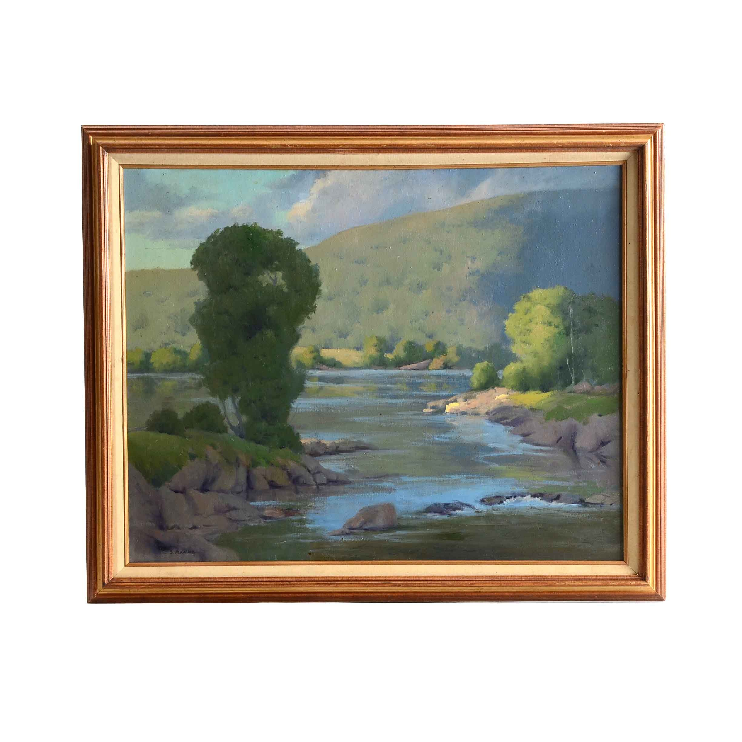 Sal Manna Signed Oil Painting 'Summer Day'