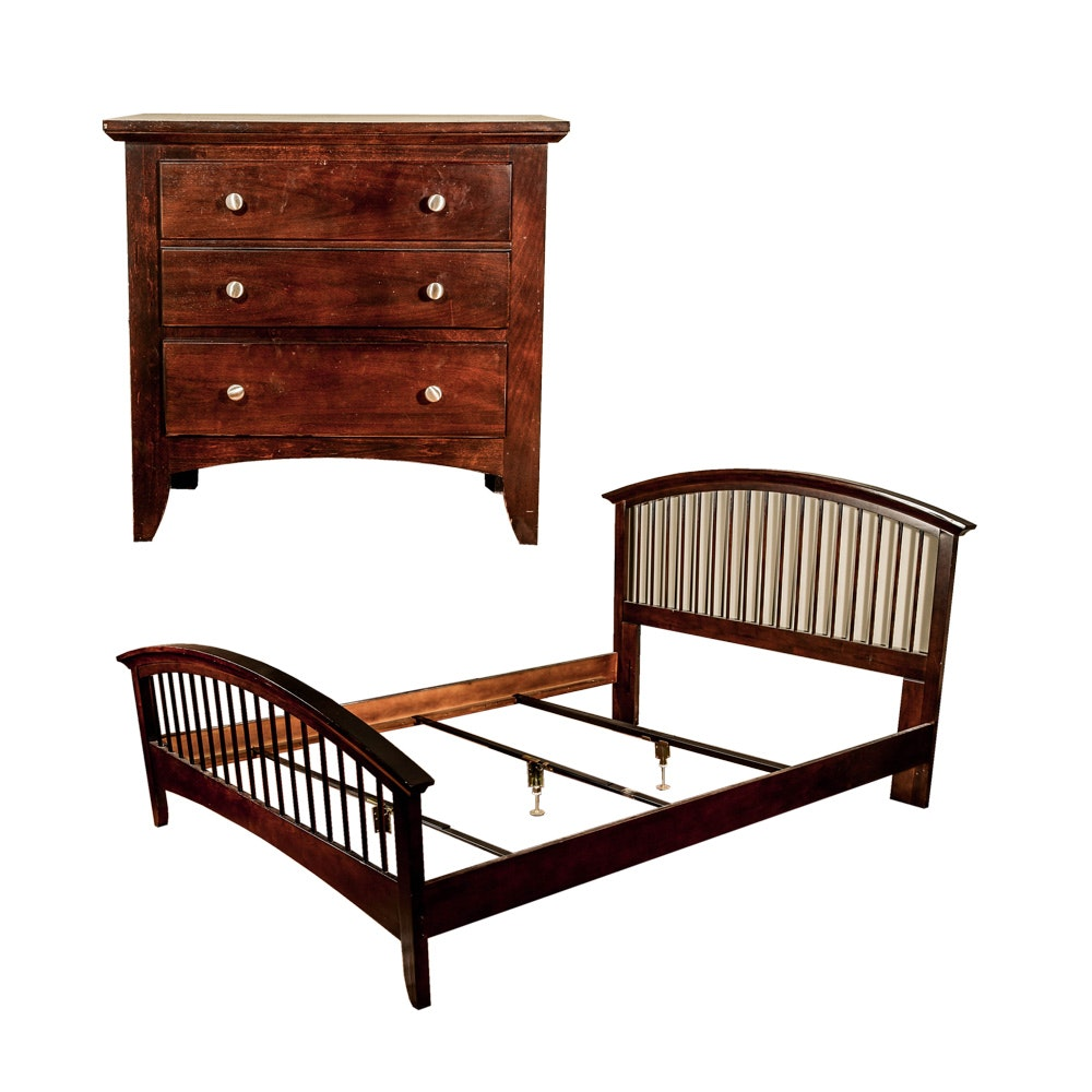 Mission Style Mahogany Bed and Side Chest