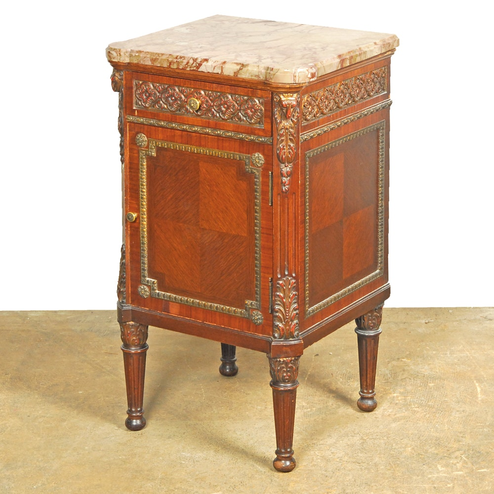 Vintage Louis XVI Style Parquetry Cabinet