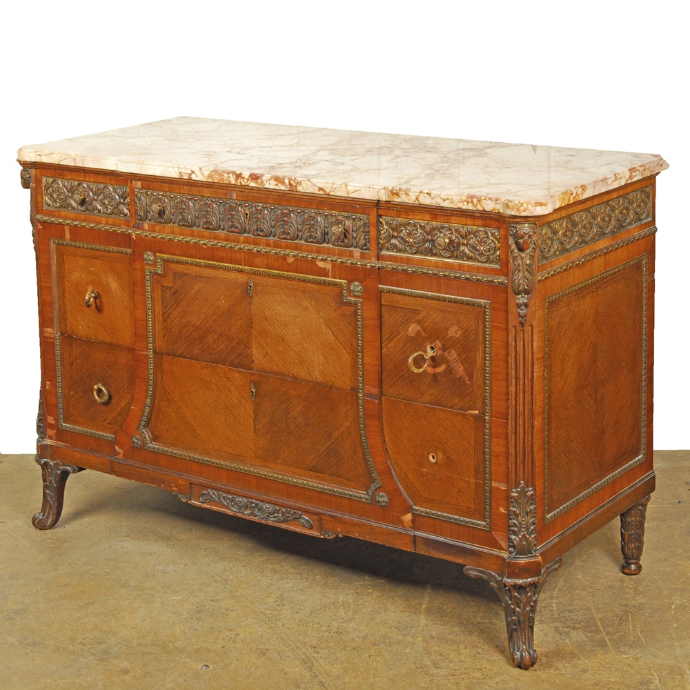 Vintage Louis XVI Style Parquetry Chest of Drawers