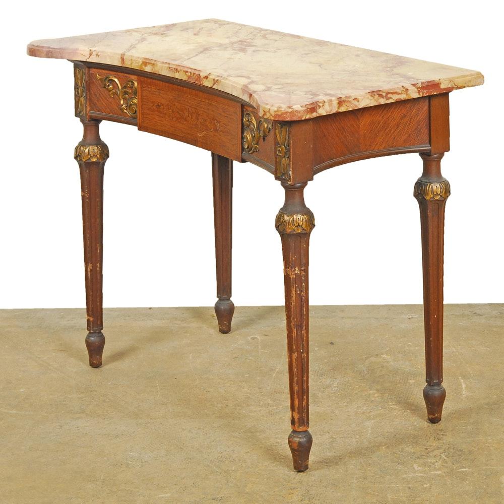 Vintage Louis XVI Style Marble Top Table