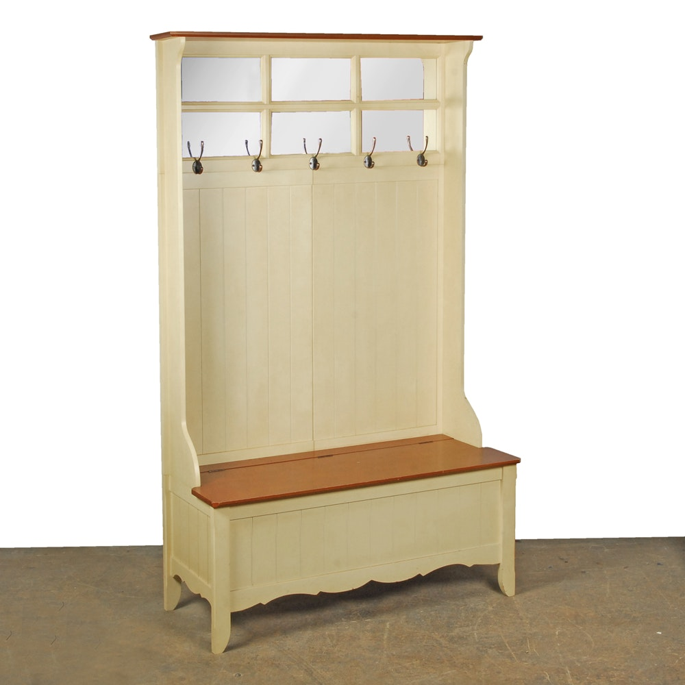 Country Style Tall Back Bench with Hooks