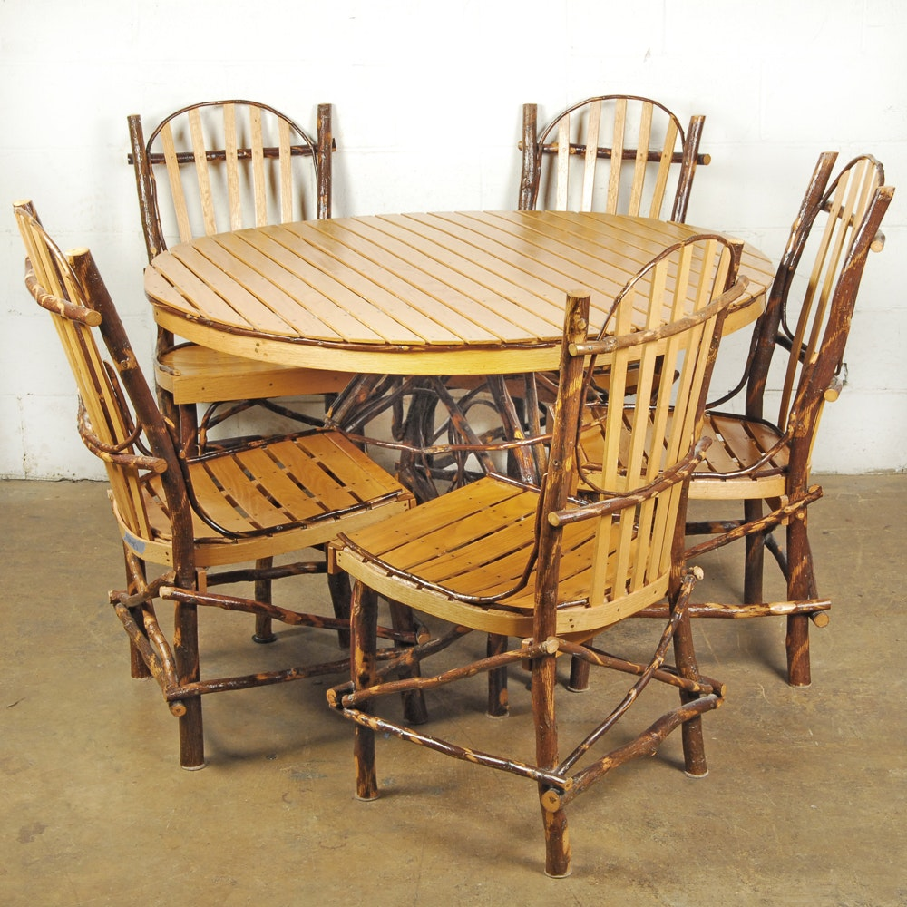 Old Hickory Style Natural Oak and Branch Dining Set