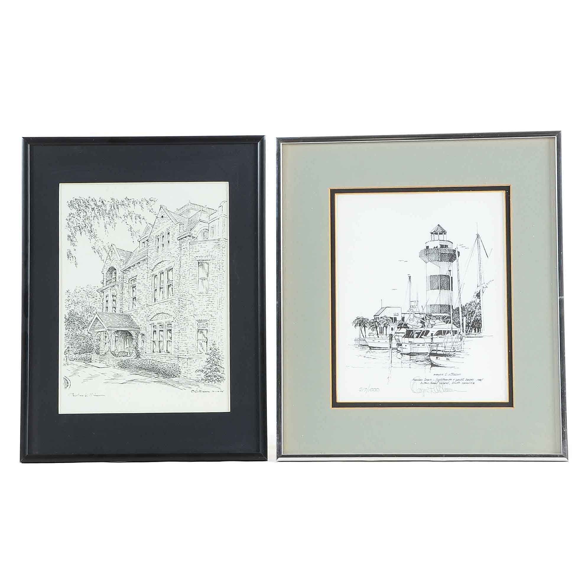 Two Signed Black and White Lithographic Prints
