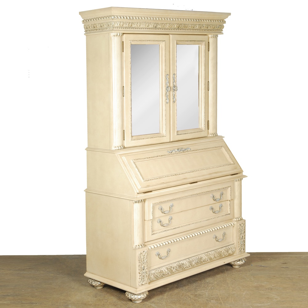 Pale Yellow Secretary Cabinet with Mirrored Doors