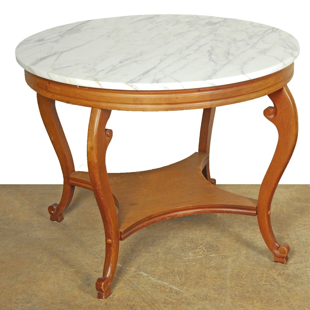 Marble and Maple End Table
