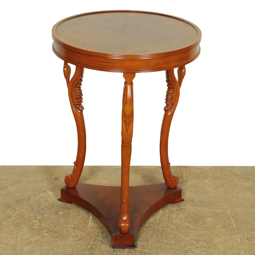 Bombay Side Table with Carved Swan Neck Legs