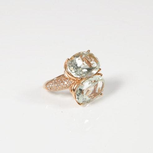 Antonini 18K Rose Gold, Green Amethyst and Pavé Diamond Cocktail Ring