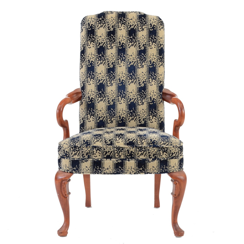 Blue and White Upholstered Armchair