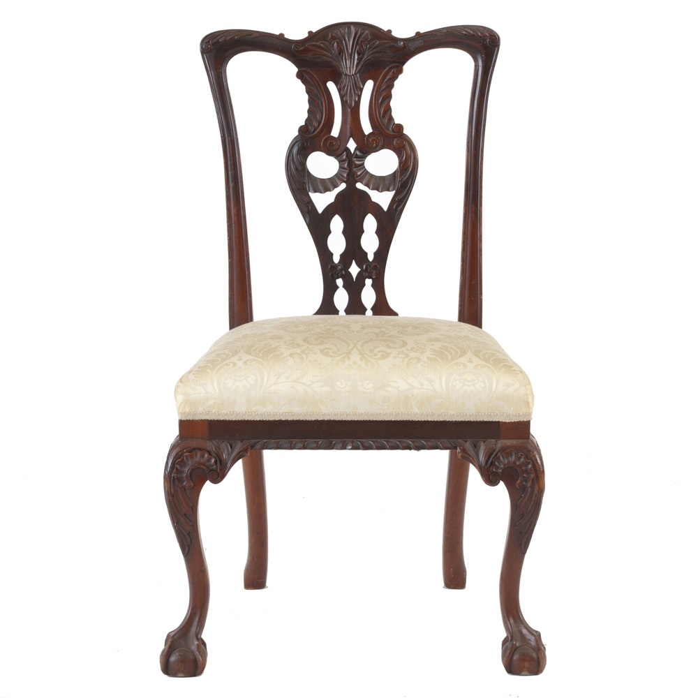 Vintage Chippendale Style Mahogany Side Chair
