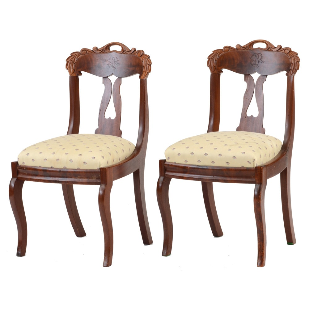 Pair of Antique Mahogany Late Empire Side Chairs