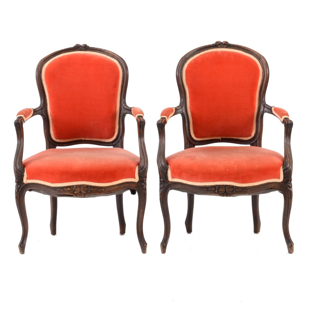 Pair of Vintage Louis XV Style Arm Chairs