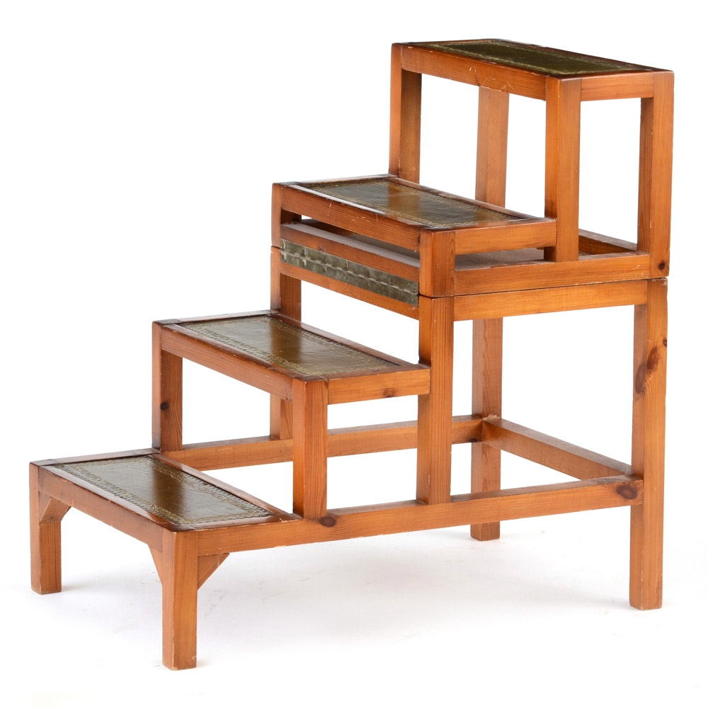 Vintage Library Table and Step Stool