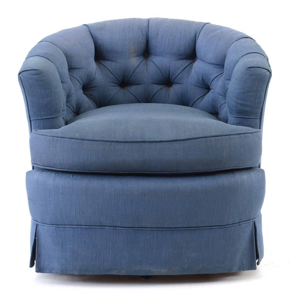 Blue Tufted Club Chair by Edwards Furniture