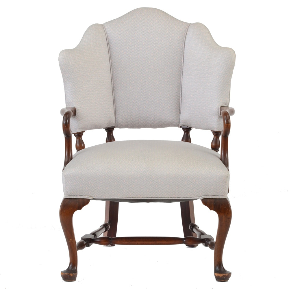 Transitional Queen Anne Style Upholstered Armchair