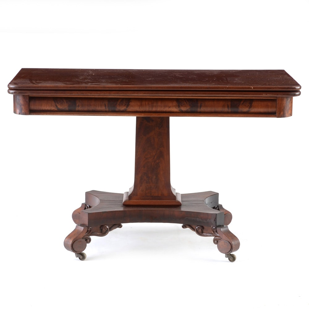 Antique Empire Style Mahogany Game Table