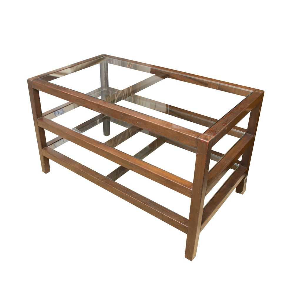 Three Tiered Wood Framed Table With Glass