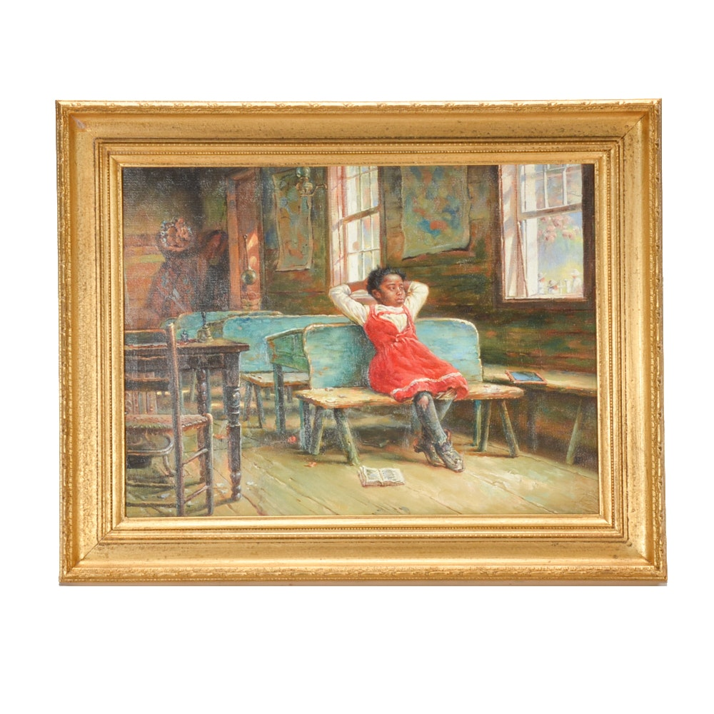 Oil Painting on Canvas of a Youth in a Schoolhouse