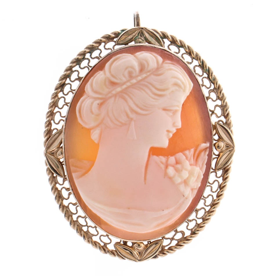 Gold Filled Shell Cameo Pendant Brooch