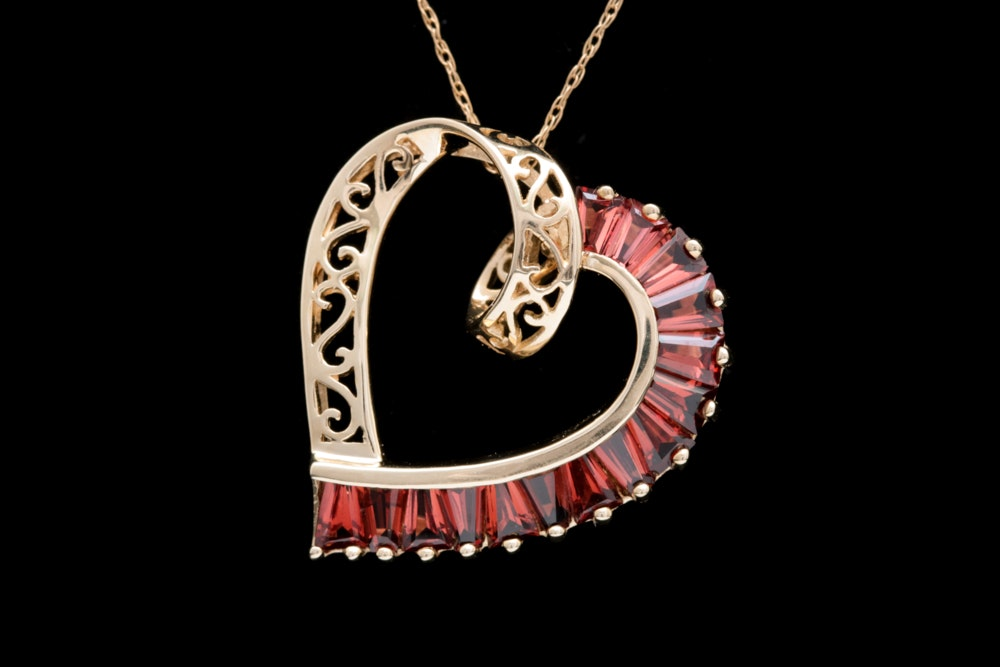 10K Yellow Gold and Garnet Open Heart Pendant with Chain