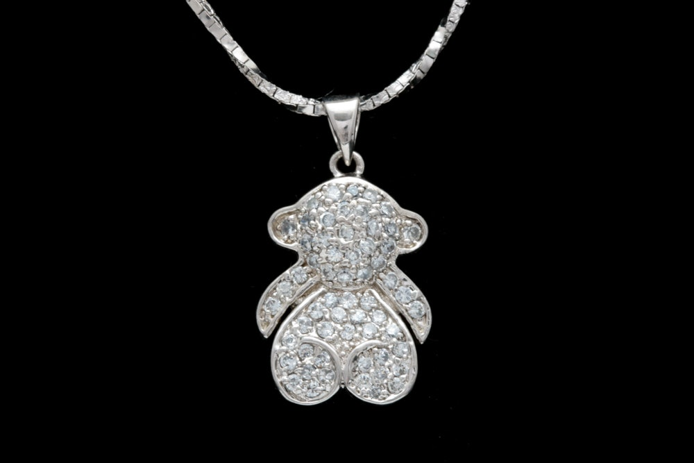 Sterling Silver and Cubic Zirconia Teddy Bear Pendant with Chain