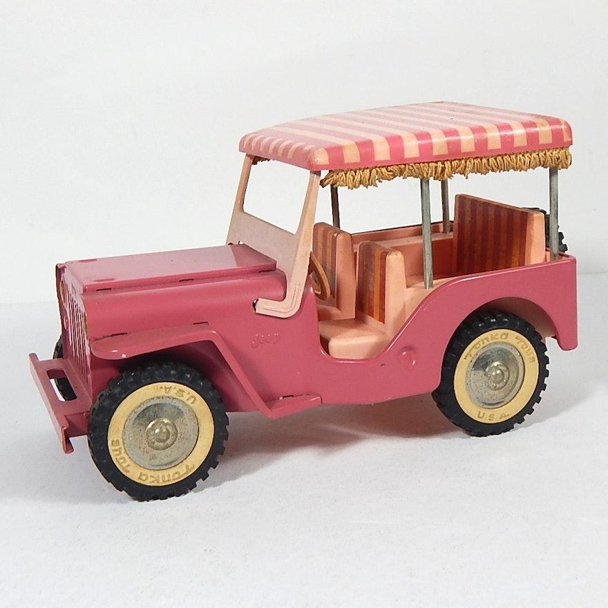 Vintage 1960s Tonka Pink Surrey Jeep With Fringe Canopy EBTH