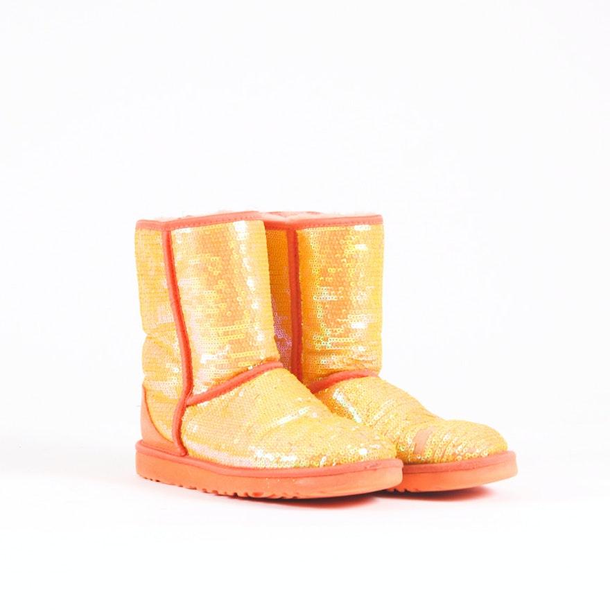 1fb2a13a697 UGG Australia Orange Classic Short Sparkle Boots