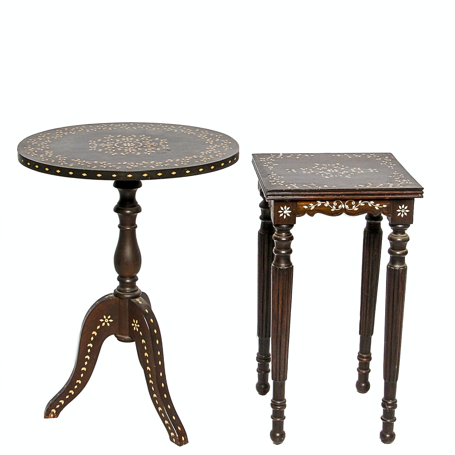Two Bone Inlay Accent Tables