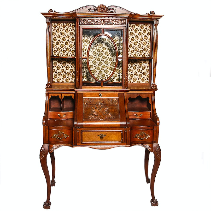 Antique English Victorian Chippendale Style Secretary Desk ... - Antique English Victorian Chippendale Style Secretary Desk : EBTH