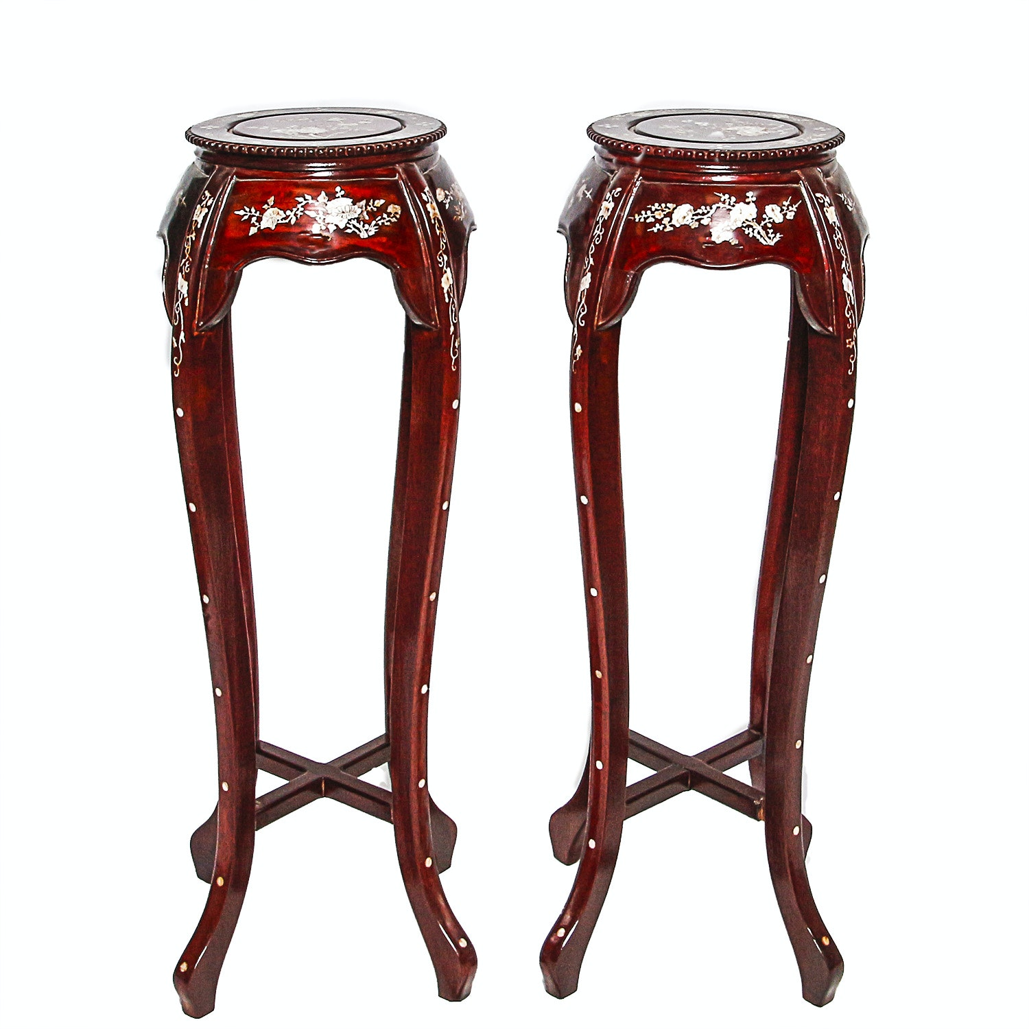 Pair of  Asian Inspired Pedestals with Shell Inlays