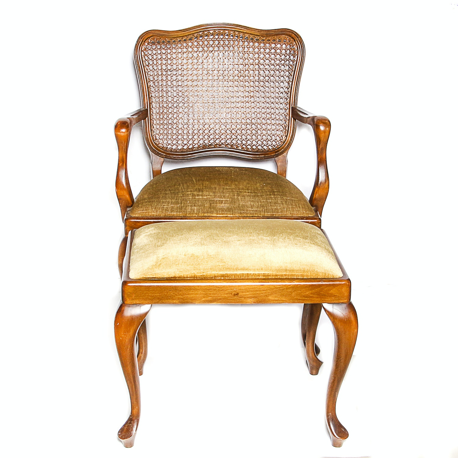Louis XV Style Walnut Fauteuil and Ottoman