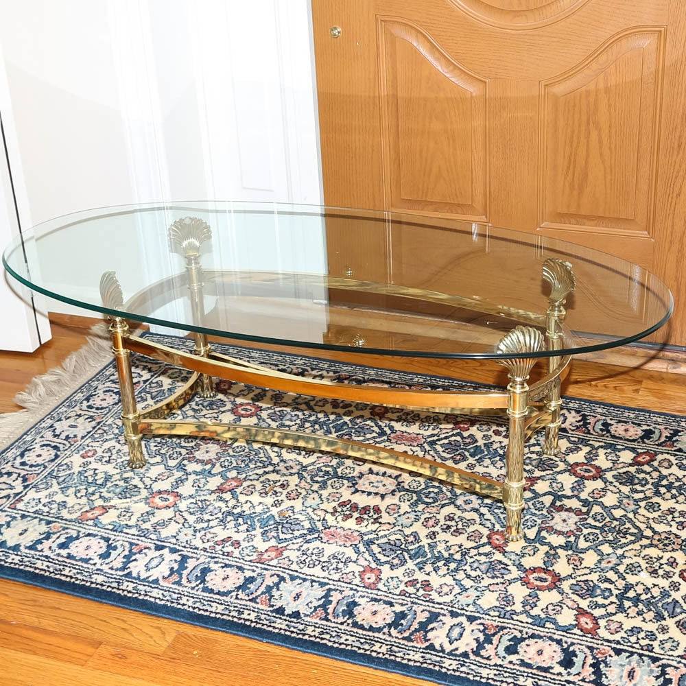 Hollywood Regency Style Brass Coffee Table