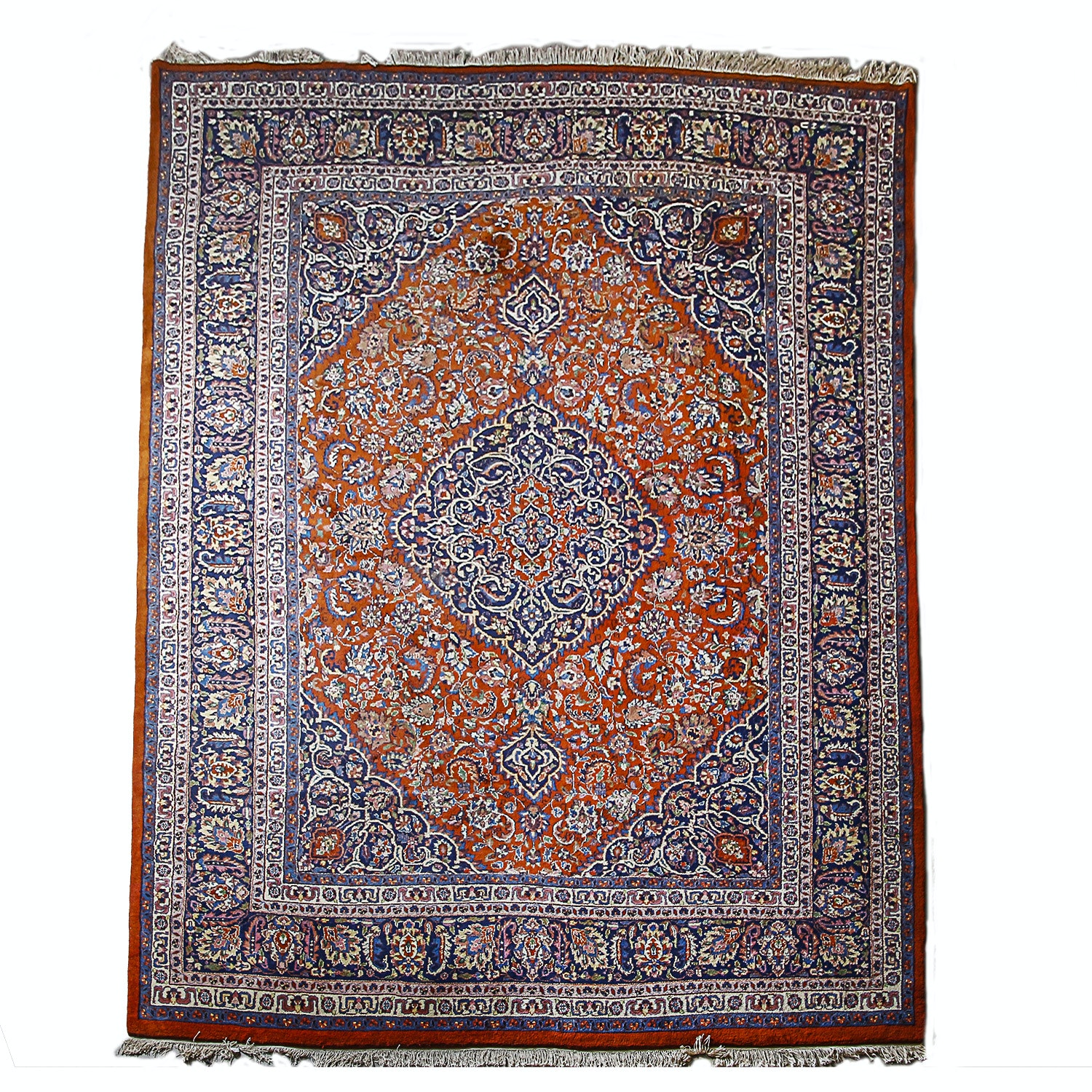 Finely Hand-Knotted Indo-Persian Kashan Wool Area Rug