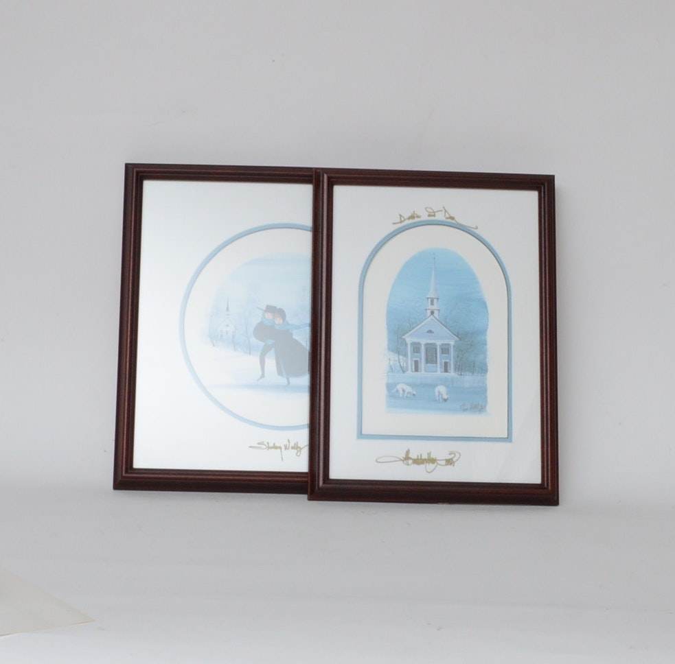 Pair of P. Buckley Moss Signed Offset Lithgraphs