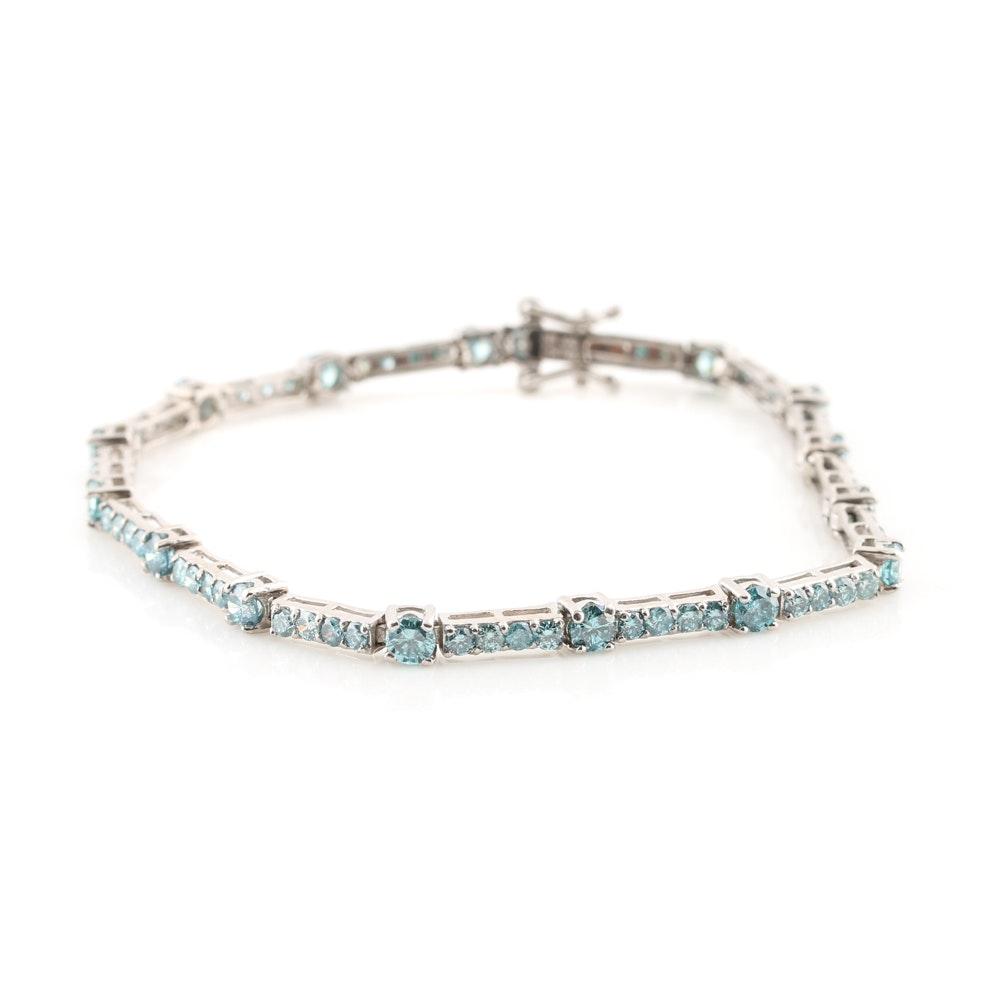 14K White Gold 3.30 CTW Blue Diamond Bracelet