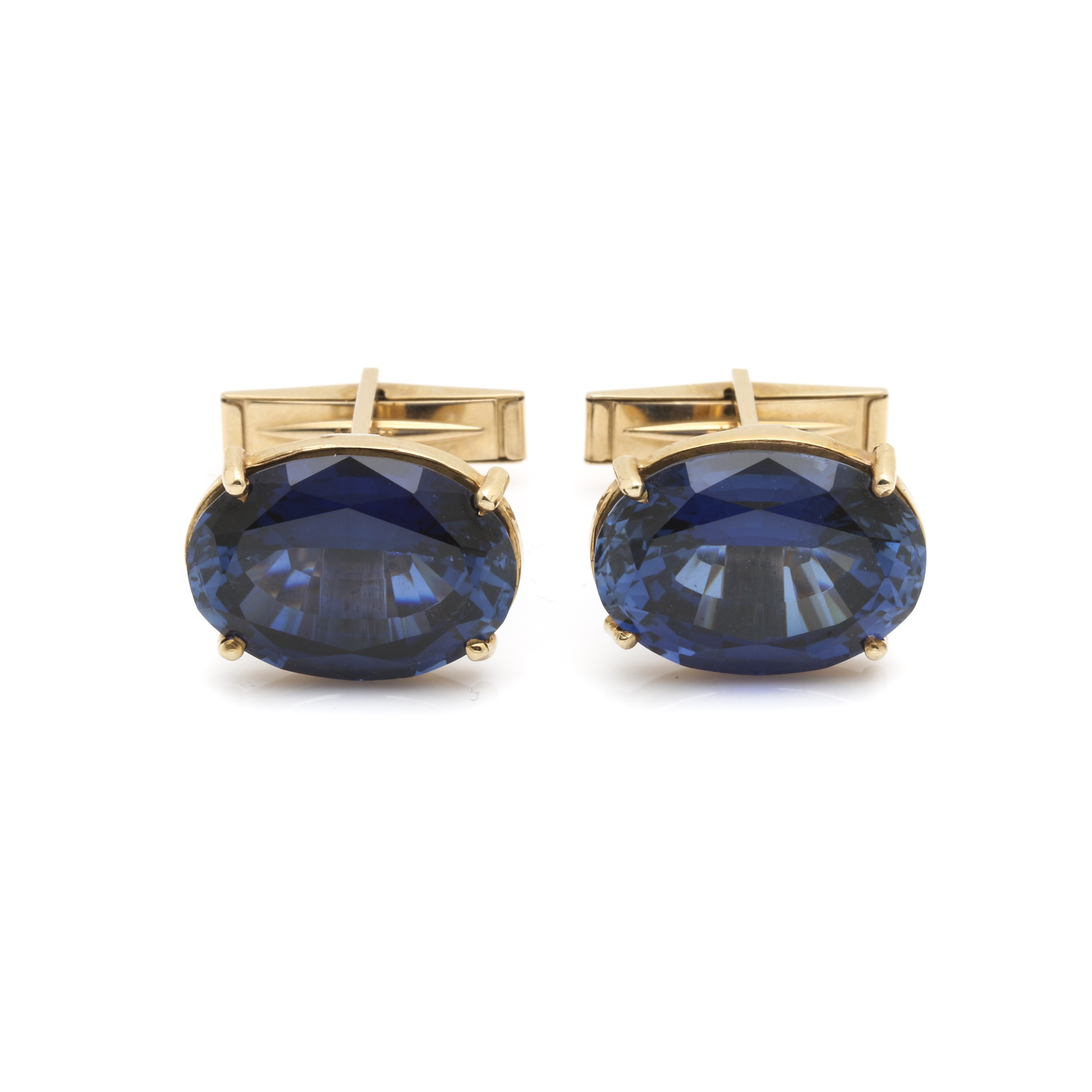 14K Yellow Gold Sapphire Cuff Links