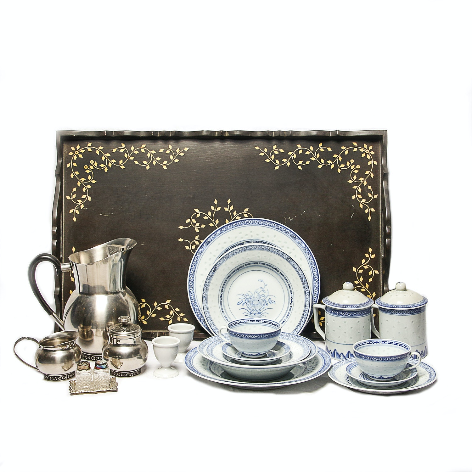 Chinese Porcelain and Metal Tableware with Tray