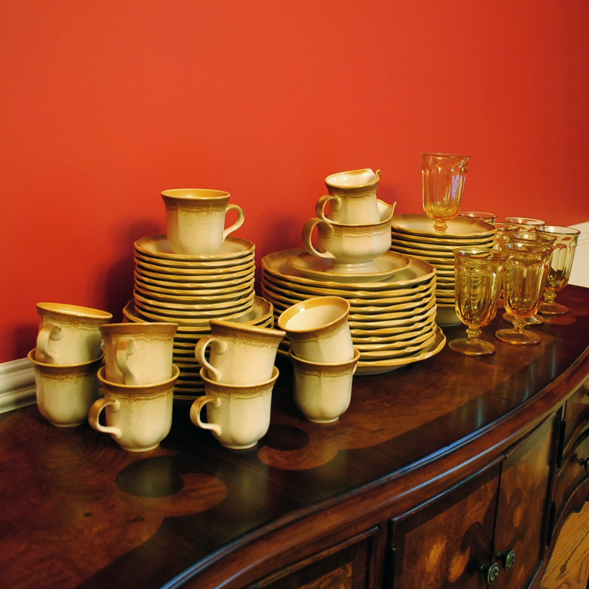 Vintage Mikasa  Loves Me  Whole Wheat Stoneware and Amber Glasses ... : amber dinnerware - Pezcame.Com