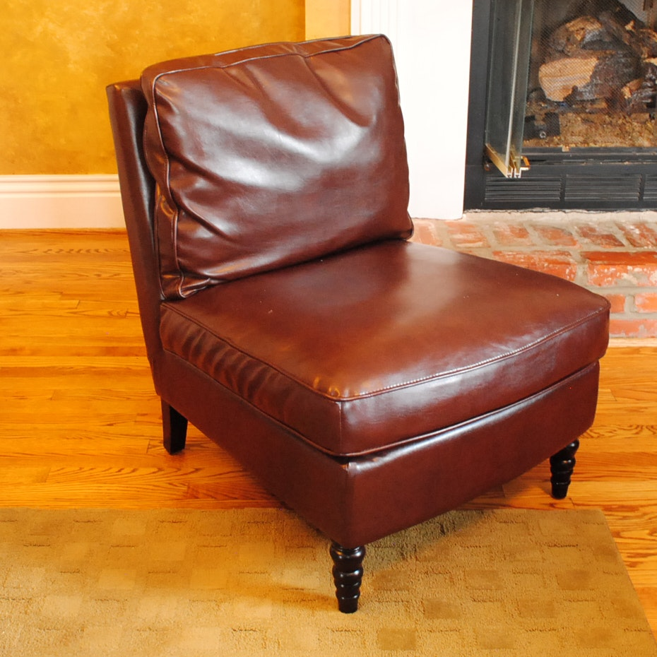 Brown Leather Slipper Chair ...