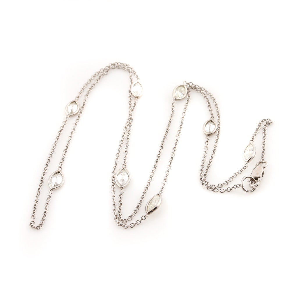 14K White Gold 1.26 CTW Diamond Station Necklace