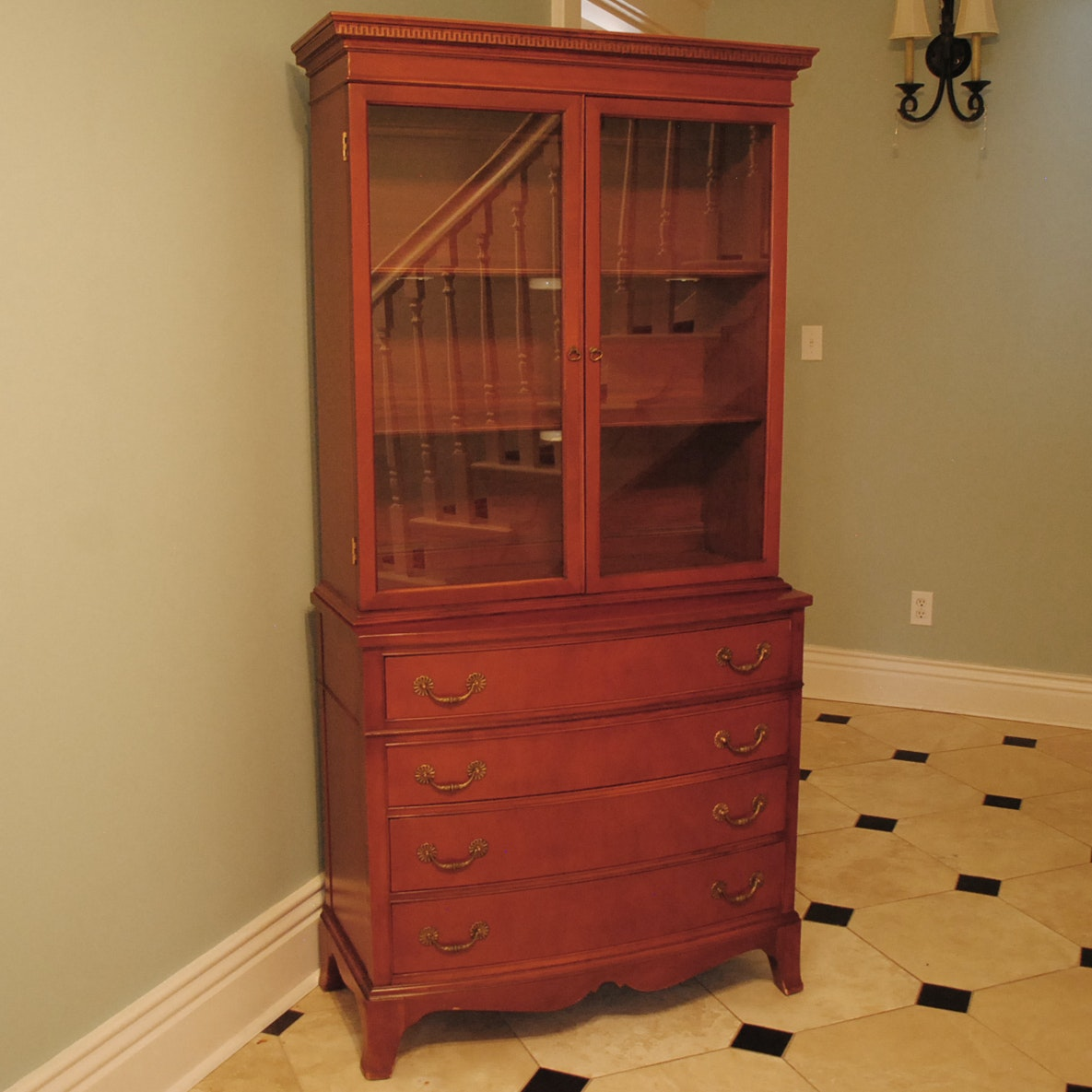 Vintage Traditional Cherry Hutch