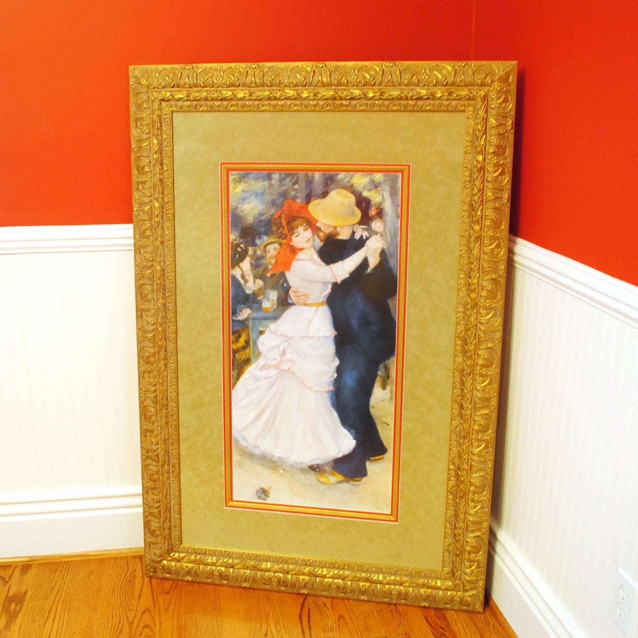 """Large Framed Print After Renoir's """"Dance At Bougival"""""""