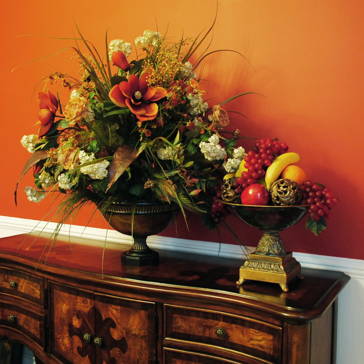 Faux Floral and Fruit Arrangements and Framed Offset Lithograph