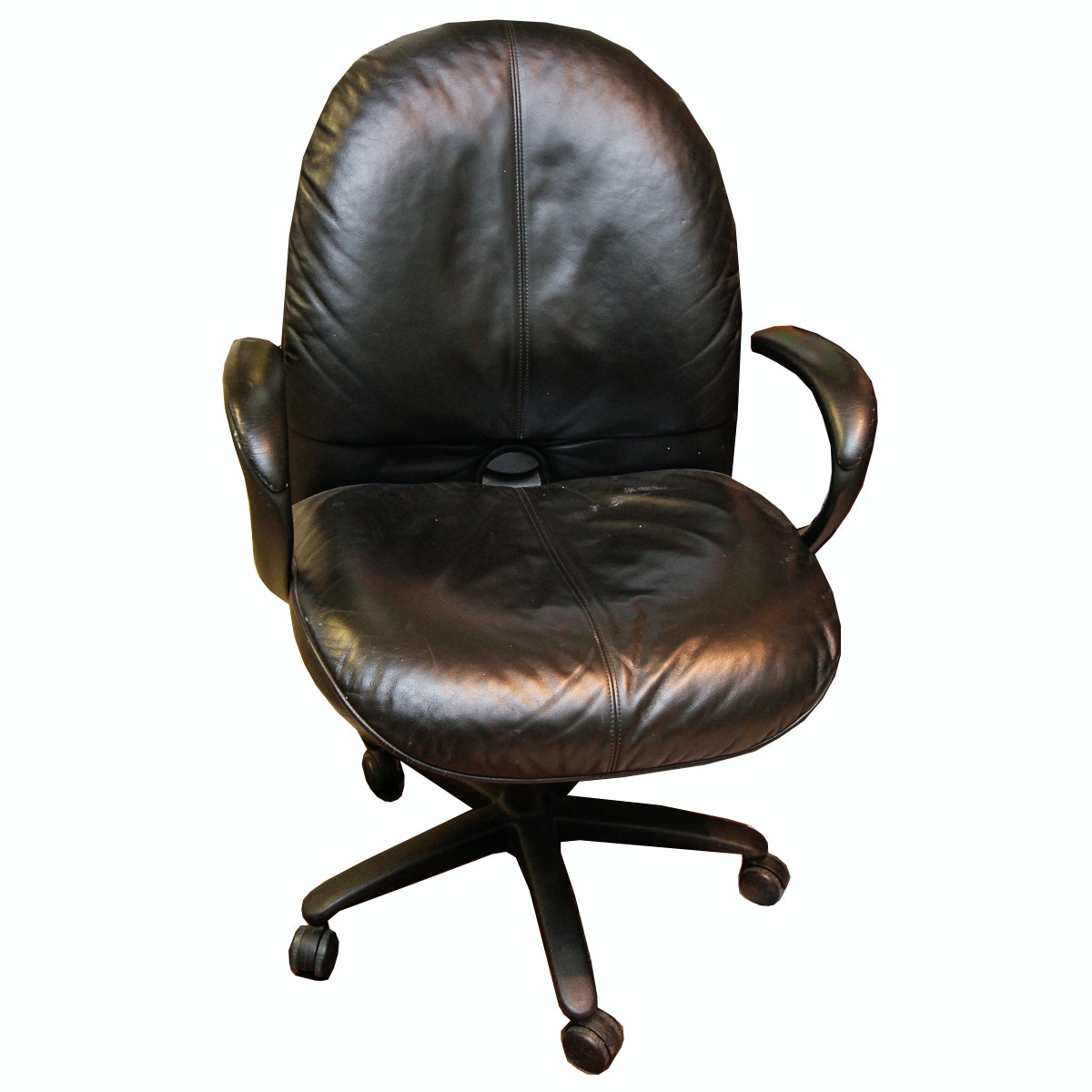Executive Leather Wingback Office Chair Ebth