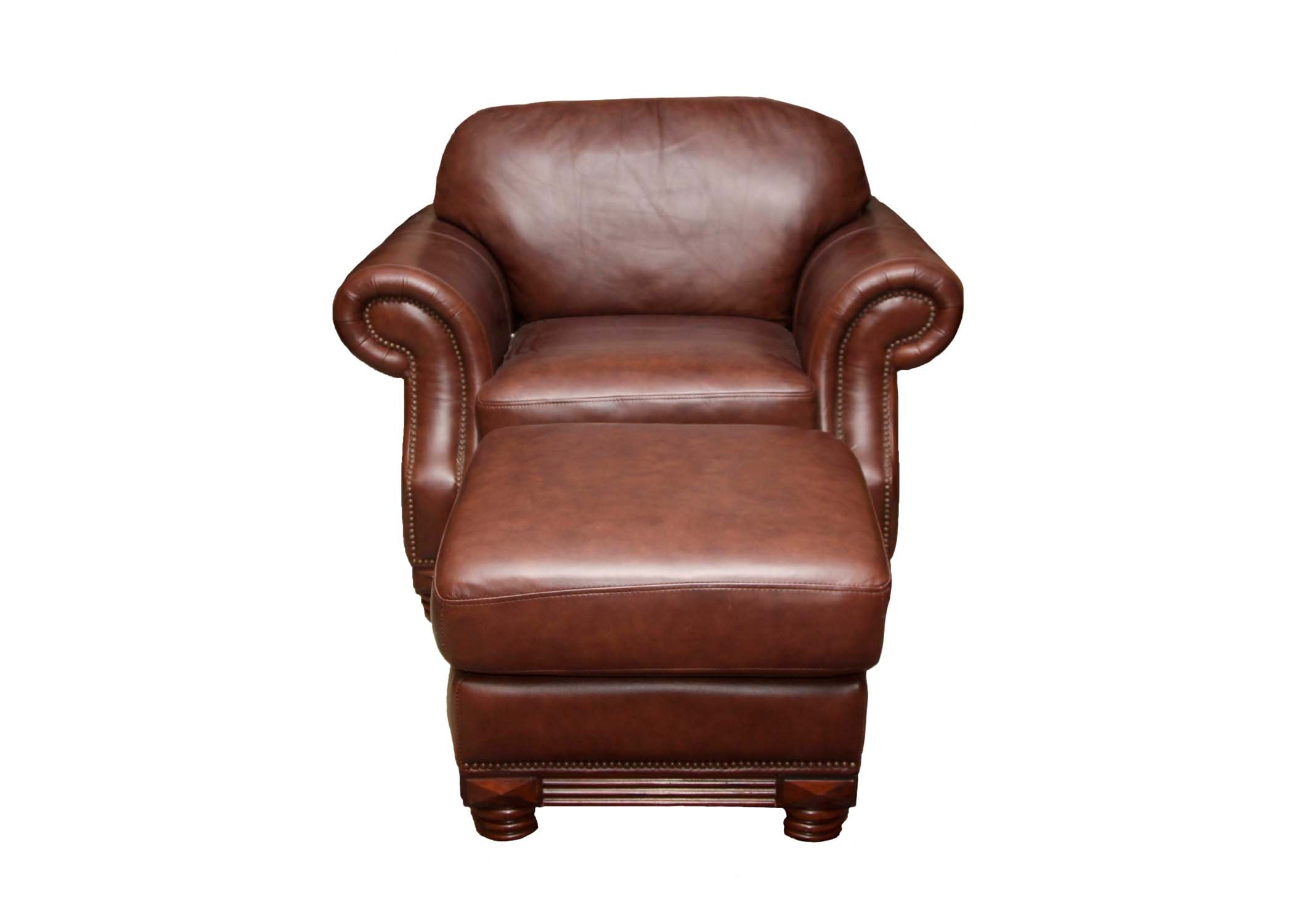 American Signature Leather Chair and Ottoman