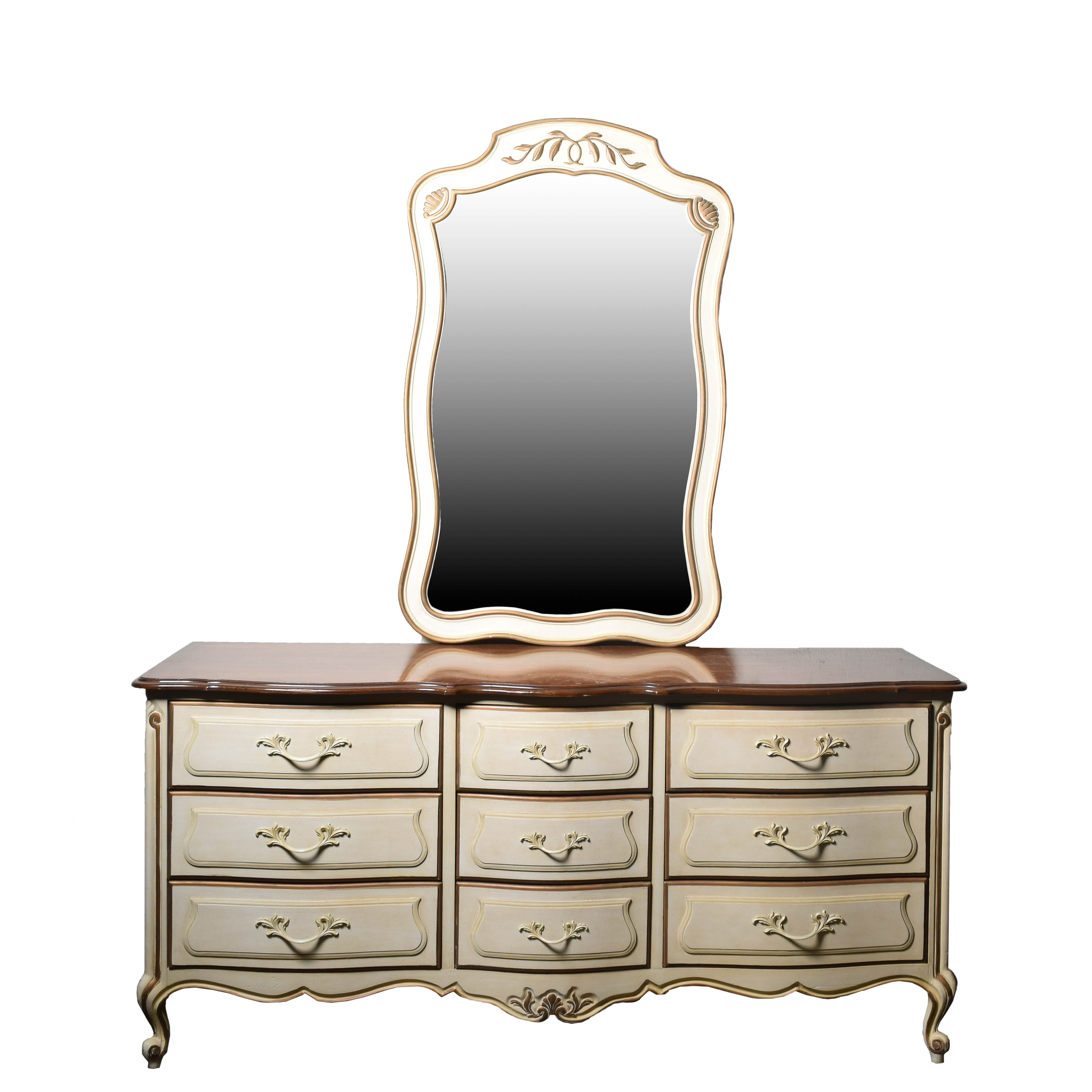 """Vintage French Provincial Style """"Touraine"""" Dresser and Mirror by Drexel"""