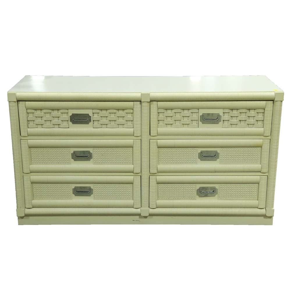 Vintage Painted Cane Dresser by Dixie Furniture